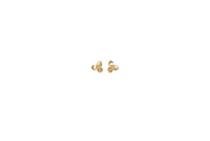Brinco de Ouro Mini com Brilhantes - 18k