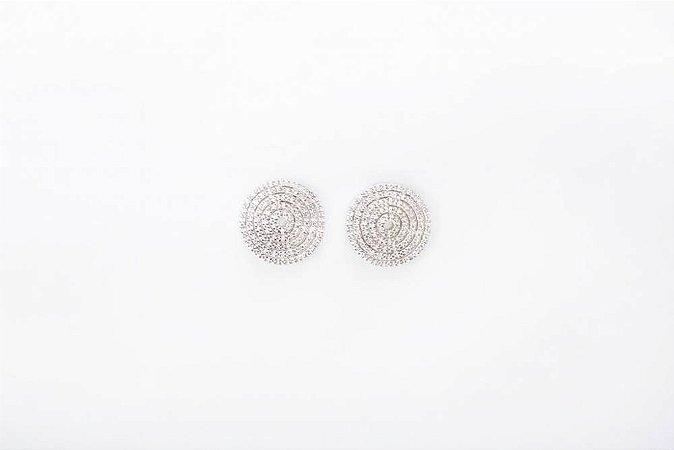 Brinco Disco com Pedras - Prata 925 / Zirconias