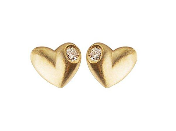 Brinco Mini Coração de Ouro com Brilhantes - 18k