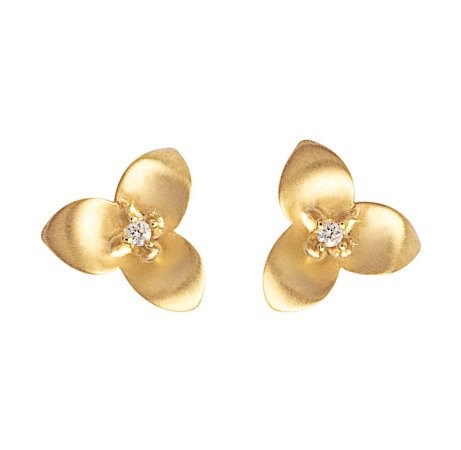 Brinco Mini Flor Ouro com brilhantes -18k