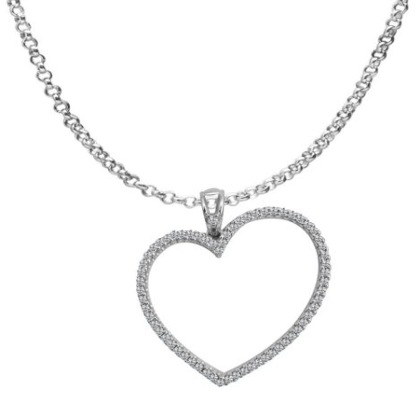 Corrente com Pingente Coração / Zirconias - Prata 925