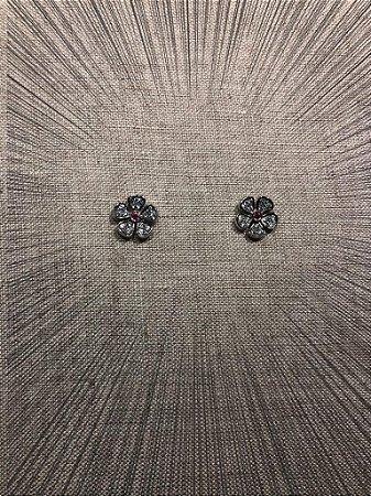 Brinco Mini Flower com Zirconias - Prata 925
