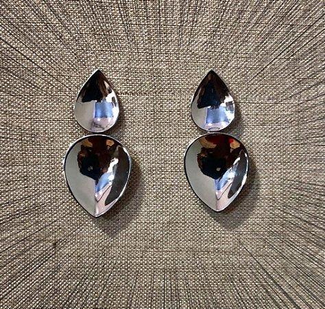 Brinco Two Mirrors - Prata 925