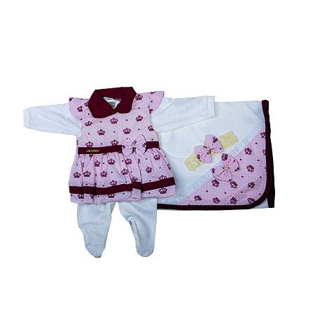 Saida Maternidade Vestido RN (Rosa/Coroa)