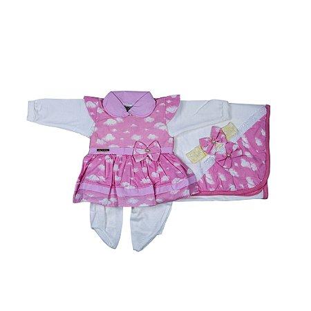 Saida Maternidade Vestido RN (Rosa/Nuvens)