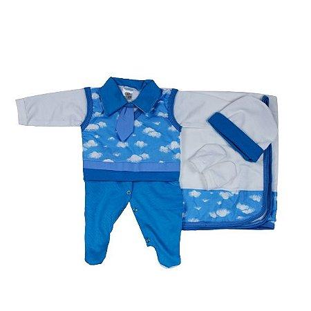 Saída Maternidade Suéter RN (Azul Nuvens)