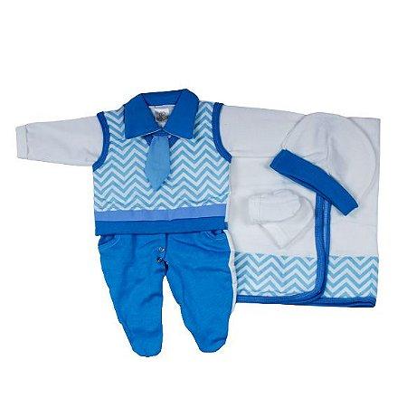 Saída Maternidade Suéter RN (Chevrom Azul)