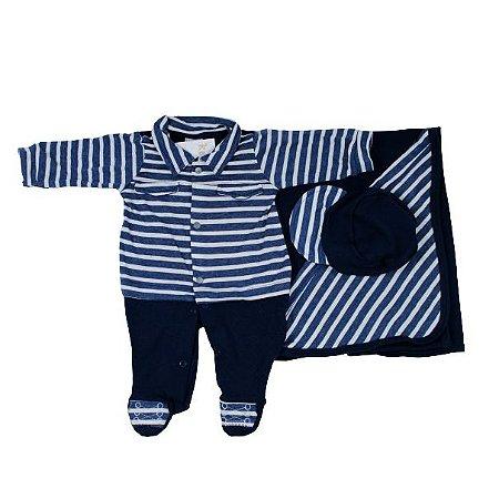 Saida Maternidade K-Baby RN (Listrado Azul Marinho)