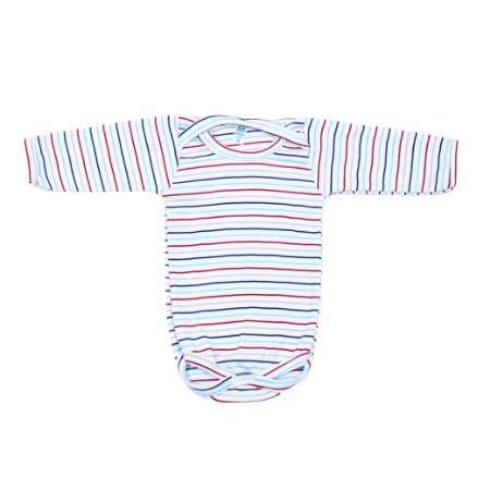 Body Manga Longa (Listrado Azul Marinho/Azul Bebê)