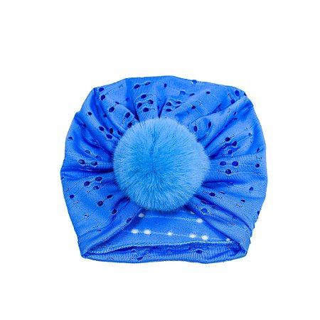 Turbante Zoe (No Pompom Azul Bebê Malha Fria)