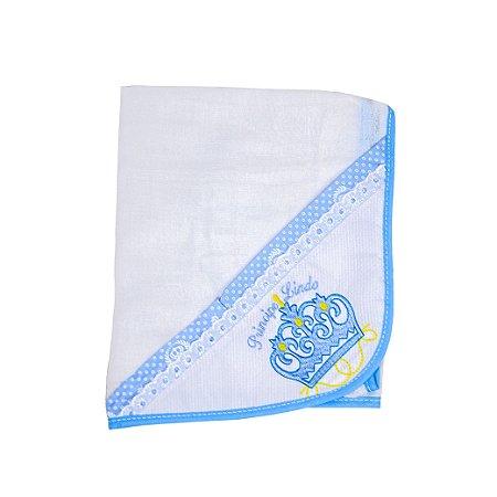 Toalha Fralda Tecido Duplo (Azul Bebê/Coroa)