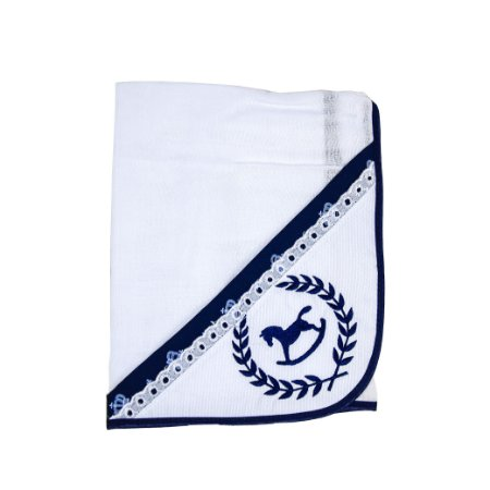 Toalha Fralda Tecido Duplo (Cavalinho/Azul Marinho)