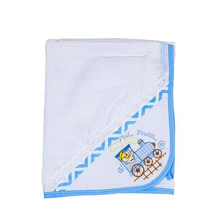 Toalha Fralda Tecido Duplo (Azul Bebê/Piui)