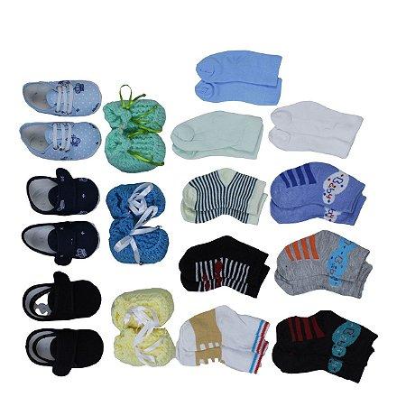 Kit Sapatinho Masculino Velcro + Meias 15 Pçs