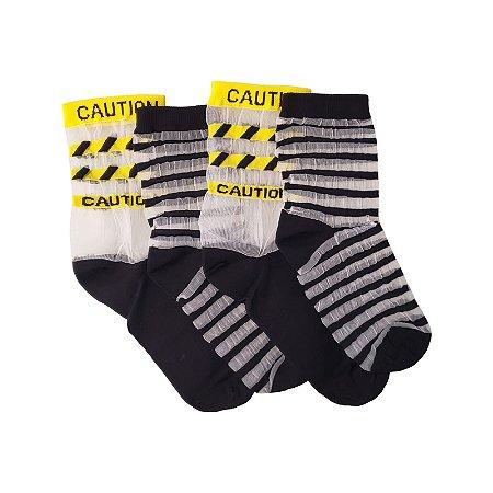 Pack Basic -  Meia Transparente Stripes Black (um par) + Meia Transparente Caution Black (um par)