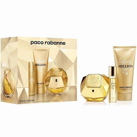 Kit Lady Million 80ml EDP + Perfume 10ml + Loção Corporal 100ml Travel Edition