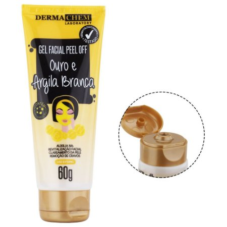 Gel Facial Peel Off Ouro e Argila Branca 60g Dermachem