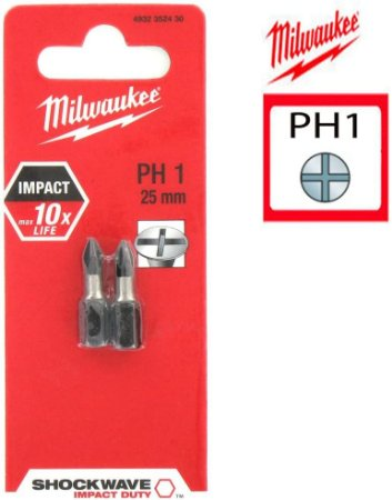 BIT PHILIPS PH1 X 25MM C/02 PÇS - MILWAUKEE
