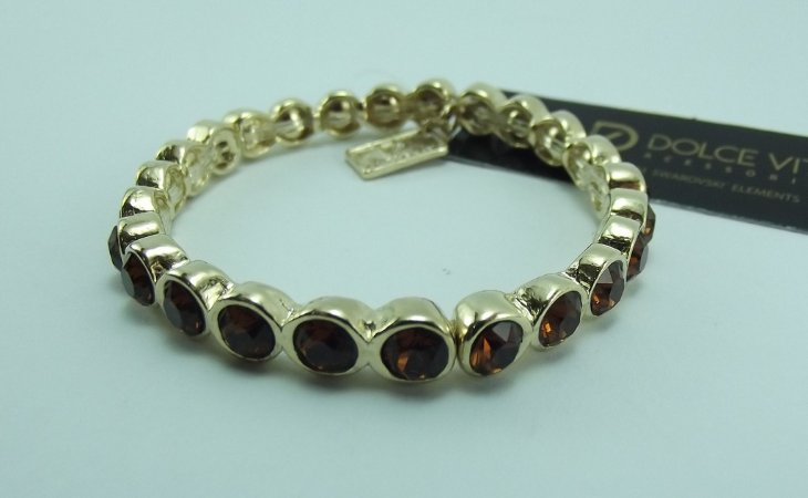 Bracelete em Metal Banho Ouro anti alérgico com Cristais Swarovski varias cores (venda unitária)