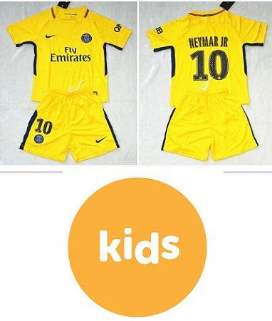 0cd994d389 Camisa Infantil + Shorts Paris Saint Germain Psg Away 2017   2018 -NEYMAR  JR Nº10