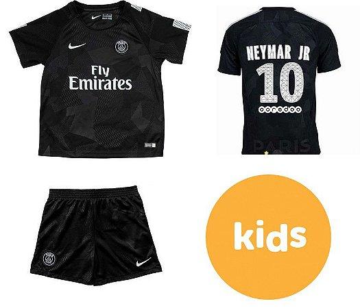 Camisa Infantil + Shorts Paris Saint Germain Psg Third 2017   2018 -NEYMAR  JR Nº10 2372076291555