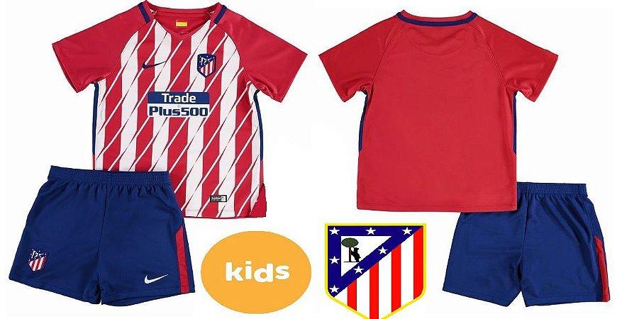 Kit Infantil Camisa+Shorts Atlético de Madrid Espanha Home 2017 2018 ... 909ddc560900f