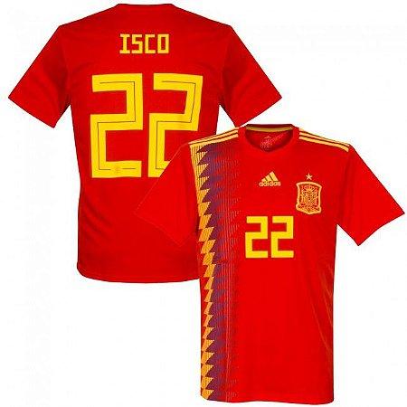 Camisa Adidas Seleção da Espanha Home 2018 2019- Isco Nº22 - Amo Futebol 39d493b19da40