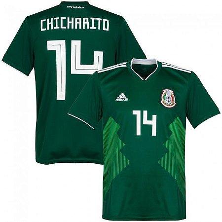 Camisa Adidas Seleção do México Home 2018 2019- Chicharito Nº14 ... 481b971aa6d36