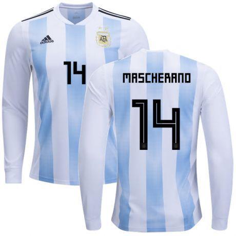 0a8ea48ef08f9 Camisa Seleção da Argentina Manga Longa Home 2018/2019-Mascherano N.º14