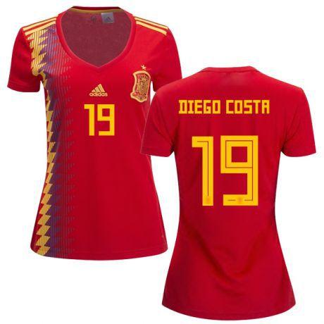 Camisa Feminina Seleção da Espanha Home 2018 2019-Diego Costa Nº19 ... 8101202c106ec