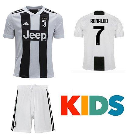 7fbd7e8279 kit Infantil Juventus Home 2018/2019-Cristiano Ronaldo Nº7 - Amo Futebol