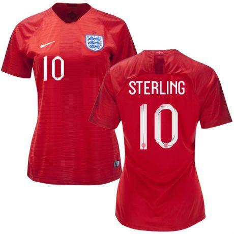 dfcab2e6f Camisa Feminina Seleção da Inglaterra 2018 2019-Raheem Sterling N°10 ...