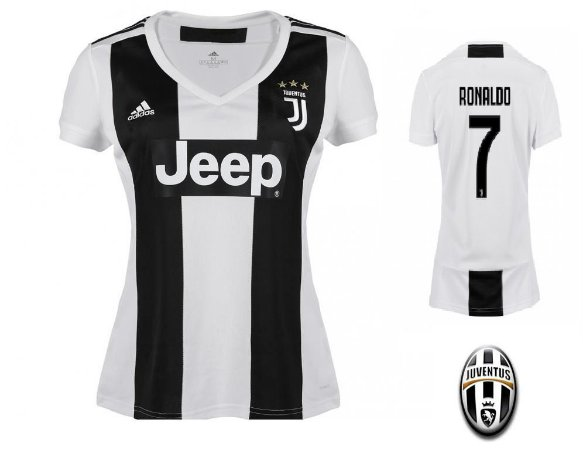 ab628c0a77 Camisa Feminina Juventus da Itália Home 2018/2019-Cristiano Ronaldo Nº7