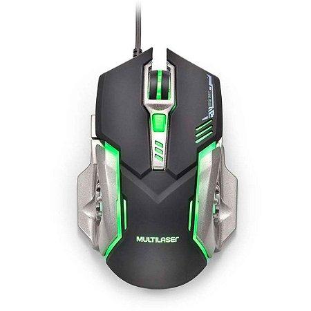 Mouse Gamer Multilaser 2400DPI Preto e Grafite com LED - MO269