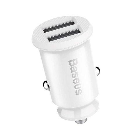 Carregador Veicular Gain 2 USB 5V 3.1A Branco - Baseus