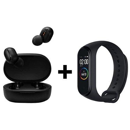 Kit Fone de Ouvido Earbuds Basic 2 + SmartBand Mi Band 4