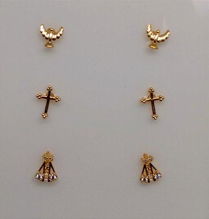 Kit Trio de Brincos Cruz, Nossa Senhora e Espírito Santo folheado em ouro 18k