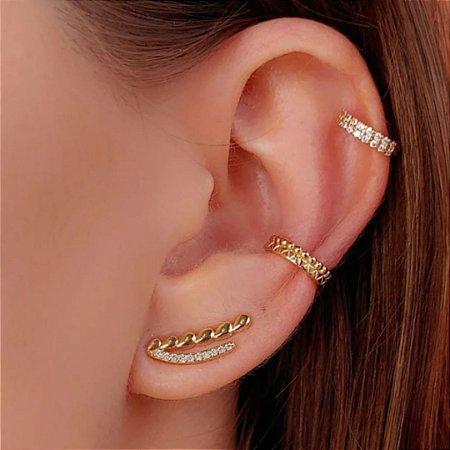 Brinco ear cuff de gotas cravejado zircônias em ouro 18k