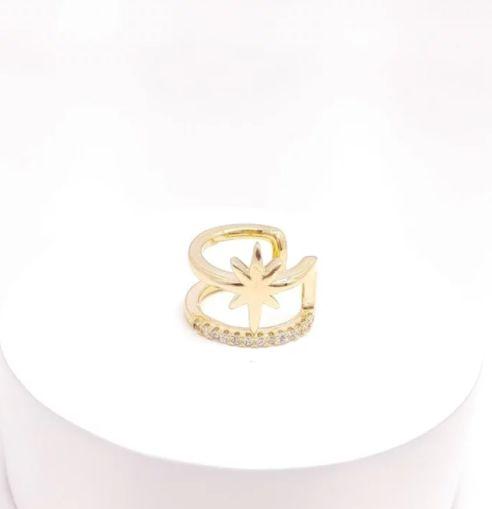 Piercing fake com estrela e zirconias folheado a ouro 18k