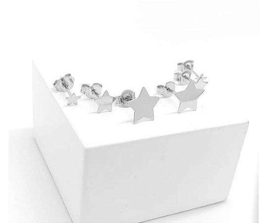 Kit Trio de brincos de estrela em ródio branco