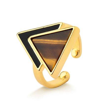 Anel ajustável triangular pedra natural olho de tigre folheado a ouro 18k