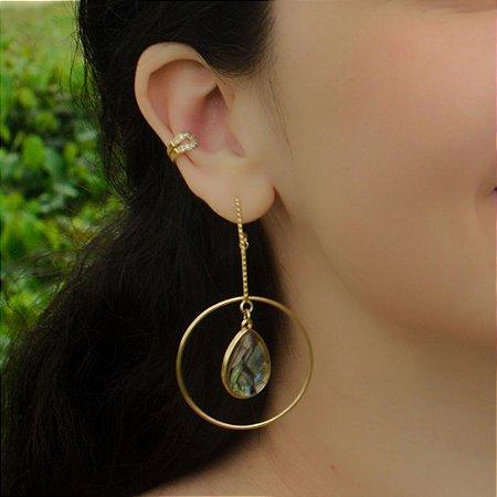 Brinco gota de pedra natural abalone folheado ouro 18k