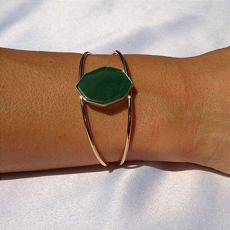 Bracelete de pedra natural ágata verde folheado a ouro 18k