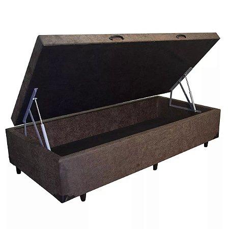Cama Box Baú Solteiro Suede Marrom - 88x188x40