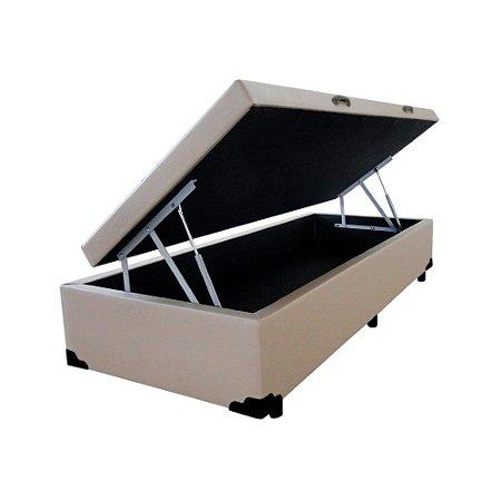 Cama Box Baú Solteiro Corino Bege - 78x188x40