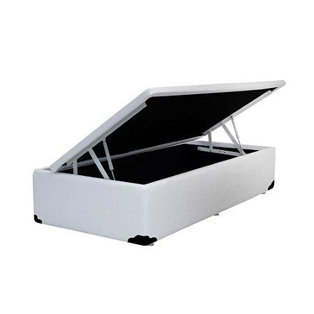 Cama Box Baú Solteiro Corino Branca - 78x188x40