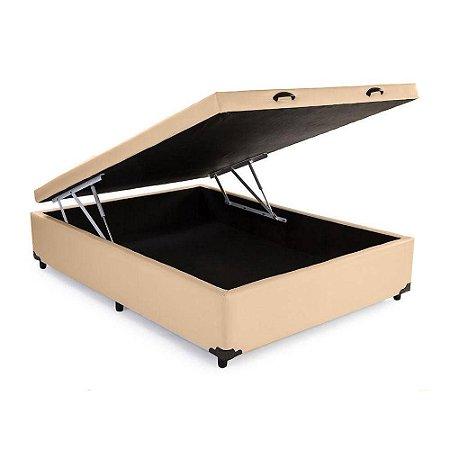 Cama Box Baú Viúva Corino Bege - 128x188x40