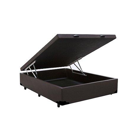 Cama Box Baú Solteirão Corino Marrom - 108x188x40