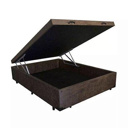 Cama Box Baú Solteirão Suede Marrom - 108x198x40
