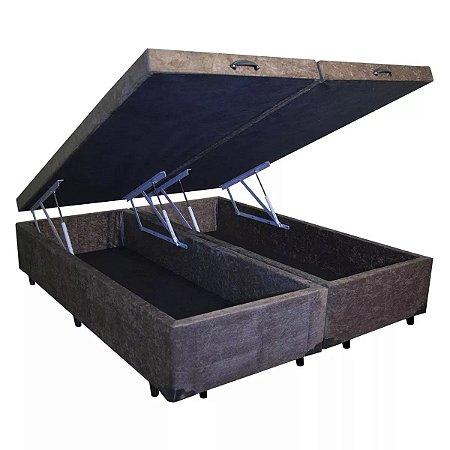 Cama Box Baú King Bipartido Suede Marrom - 193x203x40